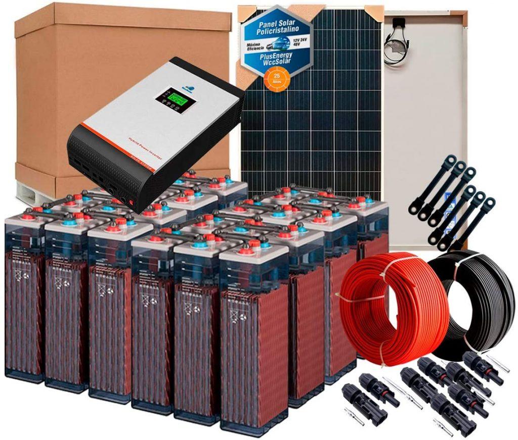 Kit Solar Autoconsumo 2000w 48v Controlador Panel Cables Baterías Opzs