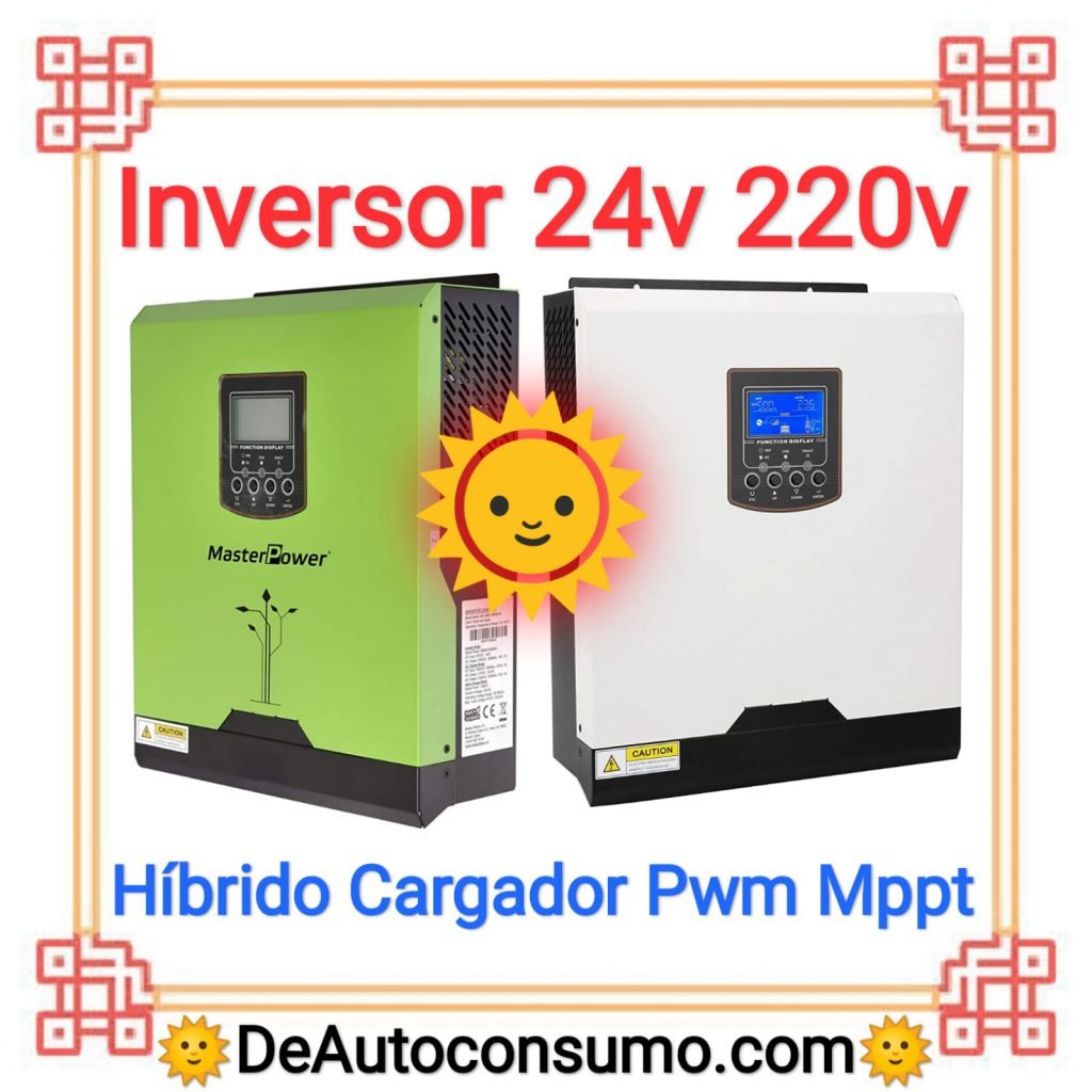 Inversor 24v a 220v hibrido cargador pwm mppt