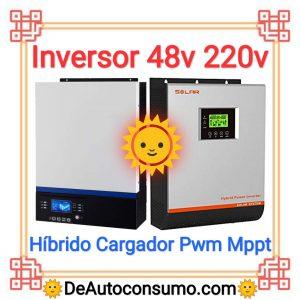 Inversor 48v a 220v hibrido, cargador, mppt, pwm