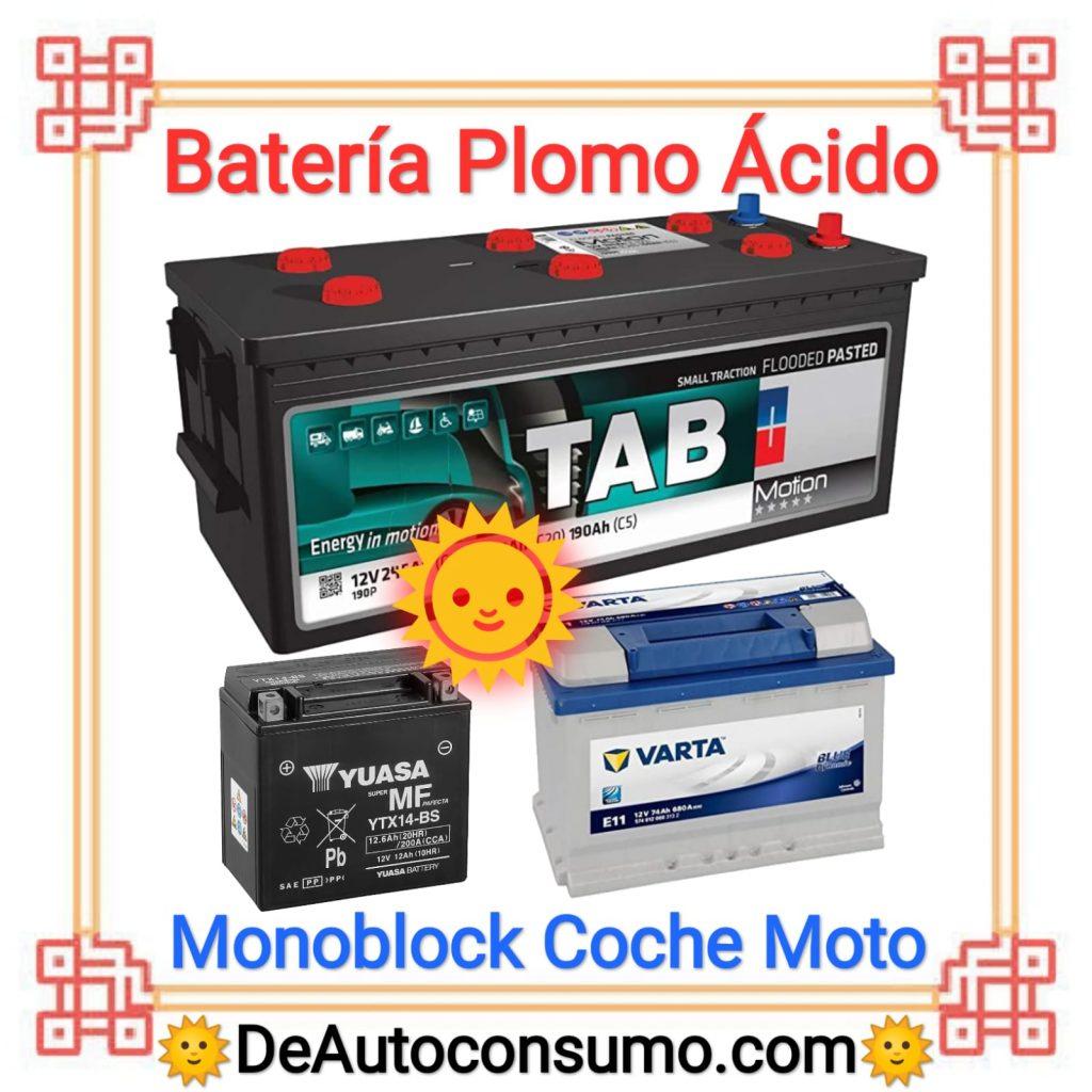 Batería Plomo Ácido Estacionarias Monoblock Coche Moto