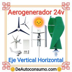 Aerogenerador 24v Eje Vertical Horizontal Doméstico