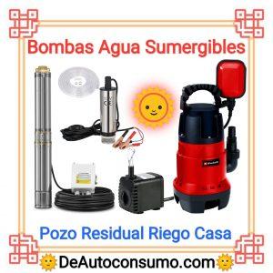 Bombas de Agua Sumergibles Pozo Residual Riego Casa Acuario Fuente
